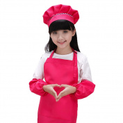 SEADEAR Waterproof Anti-oil Adjustable Durable Children's Aprons Fashion Apron with Hat Sleeves For Painting Kindergarten Art Museum Cooking 7-12 years old