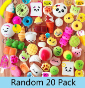 Random 20Pcs Squishy Slow Rising Cream Scented Kawaii Simulation Bread Children Toy Jumbo Medium Mini Soft Silly Squishies Foods/Cake/Panda/Bread/Buns Phone Straps