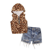2 - 7 Years Old Odeer Toddler Kids Baby Girl Hooded Leopard Print T Shirt Top Shorts Pants Cotton Hooded Clothes Set Multicolor