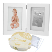 CozyCabin BABY FOOTPRINT PICTURE FRAME KIT with BABT TEETH BOX for Boys and Girls, Cool & Unique Baby Shower Gifts for Registry, Memorable Keepsakes Decorations