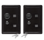 "Set of 2 Kid's Coin Bank Locker Safes - 7"" High with Combination Lock and Key - Black"