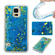 Galaxy S5 Case,S5 Case,DAMONDY 3D Cute Bling Liquid Glitter Floating Quicksand Diamond Water Flowing Ultra Clear Soft TPU Case for Samsung Galaxy S5-blue gold love