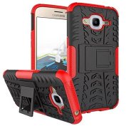 Galaxy J2 2016 Case,ARSUE Hard Silicone Rubber Hybrid Armour Shockproof Protective Case Cover with Kickstand for Samsung Galaxy J2 2016 smartphone - Red