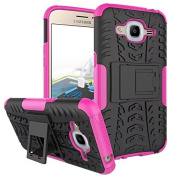 Galaxy J2 2016 Case,ARSUE Hard Silicone Rubber Hybrid Armour Shockproof Protective Case Cover with Kickstand for Samsung Galaxy J2 2016 smartphone - Hot Pink