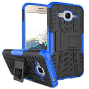 Galaxy J2 2016 Case,ARSUE Hard Silicone Rubber Hybrid Armour Shockproof Protective Case Cover with Kickstand for Samsung Galaxy J2 2016 smartphone - Blue