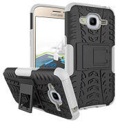 Galaxy J2 2016 Case,ARSUE Hard Silicone Rubber Hybrid Armour Shockproof Protective Case Cover with Kickstand for Samsung Galaxy J2 2016 smartphone - White