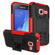 Galaxy J1 Mini Case,ARSUE Hard Silicone Rubber Hybrid Armour Shockproof Protective Case Cover with Kickstand for Samsung Galaxy J1 mini smartphone - Red