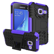 Galaxy J1 Mini Case,ARSUE Hard Silicone Rubber Hybrid Armour Shockproof Protective Case Cover with Kickstand for Samsung Galaxy J1 mini smartphone - Purple