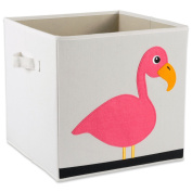 """E-Living Store Collapsible Storage Bin Cube for Bedroom, Nursery, Playroom and More 13x 33cm x 13"""" - Flamingo"""