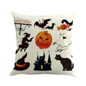 Botrong Halloween Ghost Pumpkin Pillow Case Sofa Waist Throw Cushion Cover Home Decor