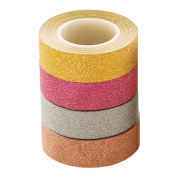 6 Rolls Decorative Adhesive Tapes Glitter Washi Tape Set for DIY Crafts Gift Wrapping - Large 10 Metre Length - Pineapple, Striped, Dots and Solid