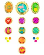Pineapple Flamingo Tropical Coloured Metal Brads Paper Fasteners for Scrapbooking and Card Making