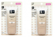 Almay Smart Shade Makeup with SPF 15, Light 100, 30ml Tubes (Pack of 2) + FREE Assorted Purse Kit/Cosmetic Bag Bonus Gift