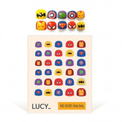 Bong Bong Non-Toxic Nail Art Stickers For Children 3-7yo – Colourful, Cute, Girlish, Super Hero, Glitter – Long Lasting (30 Stickers) - Super Heroes