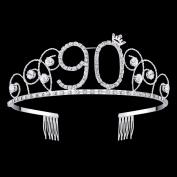 BABEYOND Crystal Tiara Birthday Crown Princess Crown Hair Accessories Silver Rhinestone Diamante Happy 16/18/20/30/40/50/60/70/80/90th Birthday