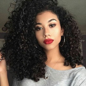 AisiBeauty Full Afro Kinky Curly Wigs Shoulder Length Wigs for African American Womens Synthetic Wigs Black Natural Colour Heat Resistant Wigs