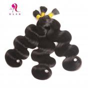 HLSK Brazilian Virgin Human Braiding Hair Bulk, Body Wave Hair Bulk for Braiding, 3 Bundles 300g, No Attachment 100% Unprocessed Virgin Human Hair Weave