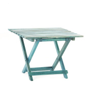 Ingrid Blue Finished Mango Wood Foldable Accent Table