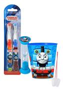 """Thomas The Train"" Inspired 4pc Bright Smile Oral Hygiene Set! Thomas & Friends 2pk Soft Manual Toothbrush, Brushing Timer & Mouthwash Rinse Cup! Plus Bonus ""Remember To Brush"" Visual Aid!"