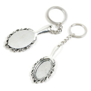 100 Pieces Keychain Keyring Door Car Key Chain Ring Tag Supply X7ZT9L Mirror Cabochon Frame Setting
