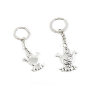 100 Pieces Keychain Keyring Door Car Key Chain Ring Tag Charms Supply J4FT9I Pirate Skull Sings