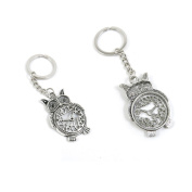 1 Pieces Keychain Keyring Door Car Key Chain Ring Tag Charms Supply N3QG5P Owl Clock Time