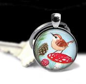 Bird on Mushroom Necklace, Mushroom Jewellery, Mushroom Pendant, Art Pendant Charm