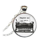 Old Typewriter Necklace, Vintage Writer Pendant, Once Upon A Time Jewellery, Round Pendant, Glass Photo Necklace
