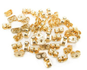 100PCS 4.6x 6MM Golden Earring Backs Butterfly Clutches Surgical Steel Ear Nuts Plug Tap Stoppers Earplugs DIY Accessories Tools