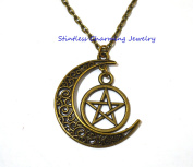 pentagram and crescent moon necklace, pagan jewellery, wiccan jewellery, gothic necklace