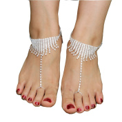 Beach Rhinestone Barefoot Sandals Toe Ring Anklets Wedding Anklets Foot Jewellery Anklets For Women