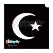 Glimmer Body Art Glitter Tattoo Stencil Star & Moon 1 5/pk