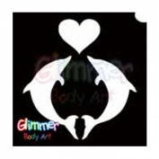 Glimmer Body Art Glitter Stencils Dolphin Heart
