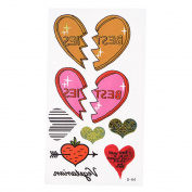 Colourful Hearts Pattern Temporary Transfer Tattoos Sticker Beauty Tool