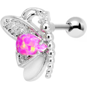 Body Candy Steel Barbell Pink Synthetic Opal Butterfly Left Cartilage Earring 16 Gauge 0.6cm