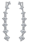 White Gold Plated Silver Ear Climbers CZ Crawler Earrings 24mm 1inch
