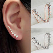 Rose Gold Plated Silver Ear Climbers CZ Crawler Earrings 24mm 1 inch