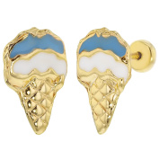 18k Gold Plated Safety Stud Cone Ice Cream Blue Enamel Kids Girls Earrings 11mm