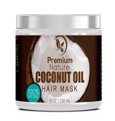 Coconut Oil Hair Mask 240ml 100% Natural Hair Care Treatment - Intensive Repair, Restores Shine & Nourishes Scalp, By Premium Nature