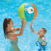 60cm Blue, Orange and Green Monster-Theme 6-Panel Inflatable Beach Play Ball Swimming Pool Toy