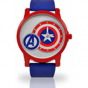 Men's Marvel Captain America Watch, Blue PU Strap