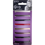 GOODY - Classic Metallic Gloss Stay Barrettes - 8 Count