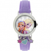 Frozen Silver Case with Dangling Charms Character-Printed Dial Analogue Watch, Pink Strap