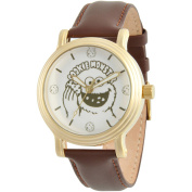 Sesame Street, Cookie Monster Women's Silver Vintage Alloy Watch, Brown Leather Strap