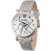 Sesame Street, Cookie Monster Women's Silver Vintage Alloy Watch, Silver Sequin Strap