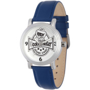 Sesame Street, Cookie Monster Women's Silver Vintage Alloy Watch, Blue Leather Strap