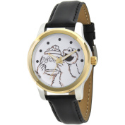 Sesame Street, Cookie Monster Two-Tone Alloy Watch, Black Leather Strap