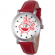 Sesame Street, Elmo Women's Silver Vintage Alloy Watch, Red Leather Strap