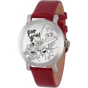 Sesame Street, Big Bird, Elmo, Cookie Monster, Bert and Ernie Women's Silver Vintage Alloy Watch, Red Glitter Strap