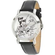 Sesame Street, Big Bird, Elmo, Cookie Monster, Bert and Ernie Women's Silver Vintage Alloy Watch, Black Leather Strap